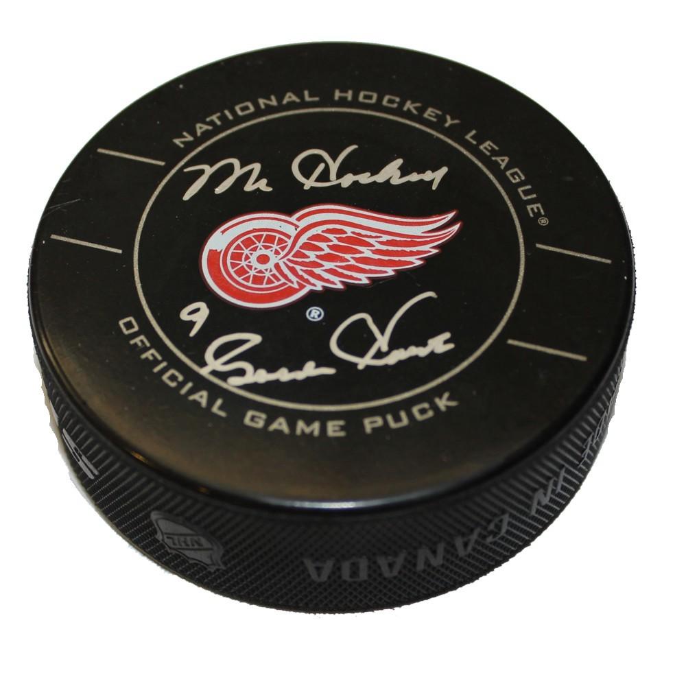 Gordie Howe Autographed Detroit Red Wings Game Puck