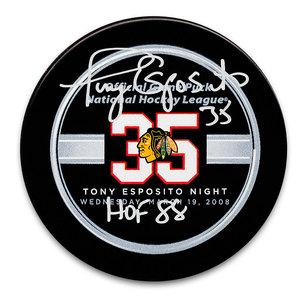 Tony Esposito Chicago Blackhawks Retirement Night Autographed Puck