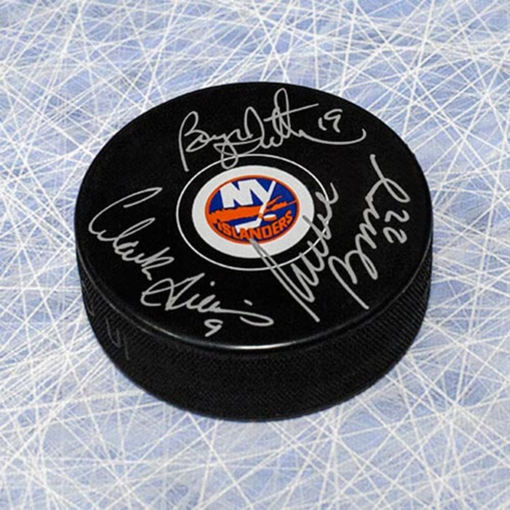 Bossy, Trottier & Gillies Triple Signed NY Islanders Trio Grande Hockey Puck