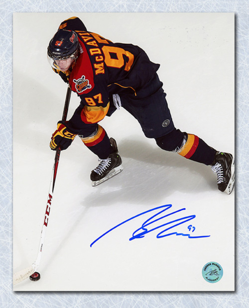 CONNOR McDAVID Erie Otters Autographed Overhead 8x10 Photo