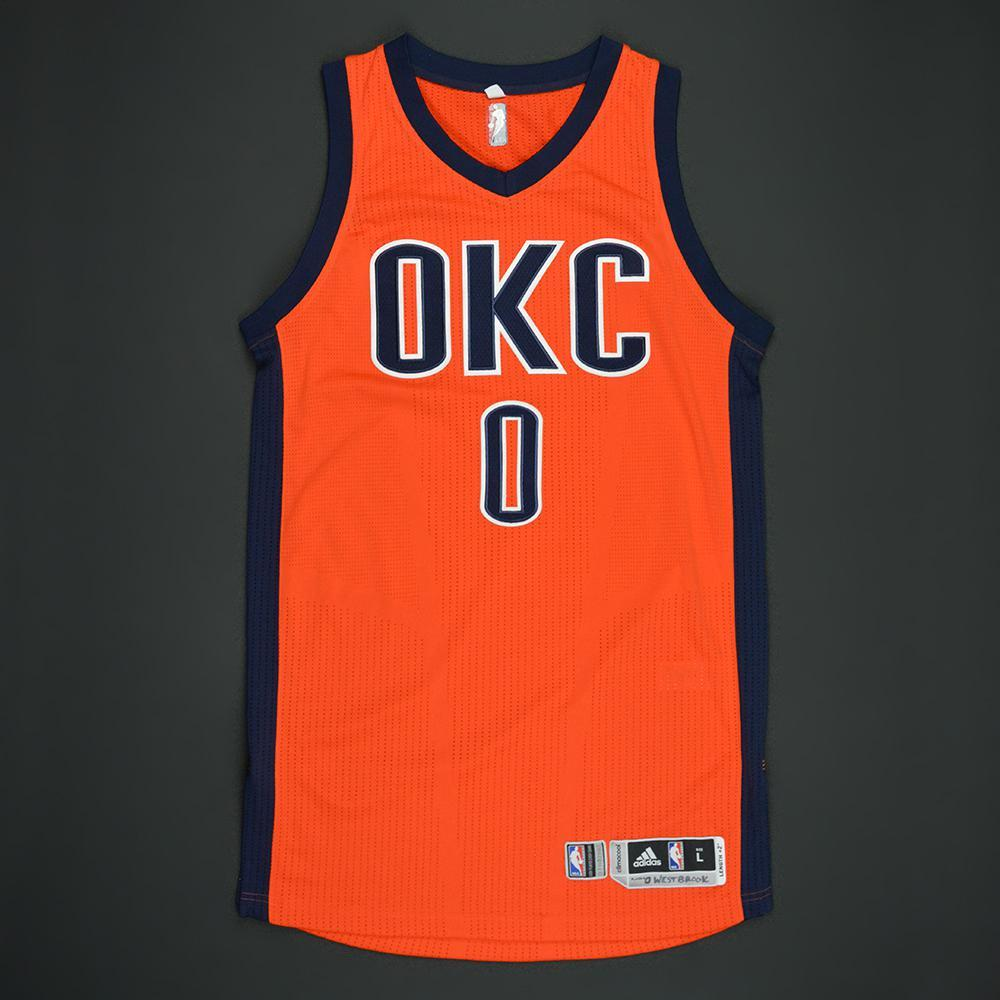Russell Westbrook - Oklahoma City Thunder - Orange Playoffs Game-Worn Jersey - 2nd Half Only - 2016-17 Season