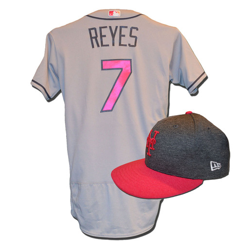 Photo of Jose Reyes #7 - Game Used Mother's Day Jersey and Hat - Reyes Goes 2-5, Run Scored - Mets vs. Brewers - 5/14/17