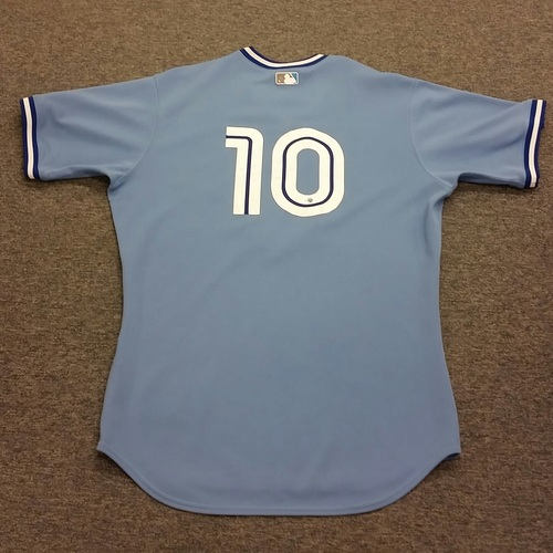 Photo of Authenticated Team Issued #10 Vernon Wells 2008 Vintage Blue Alternate Jersey