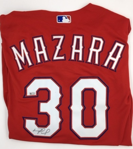 Photo of Nomar Mazara Autographed Authentic Rangers Red Jersey