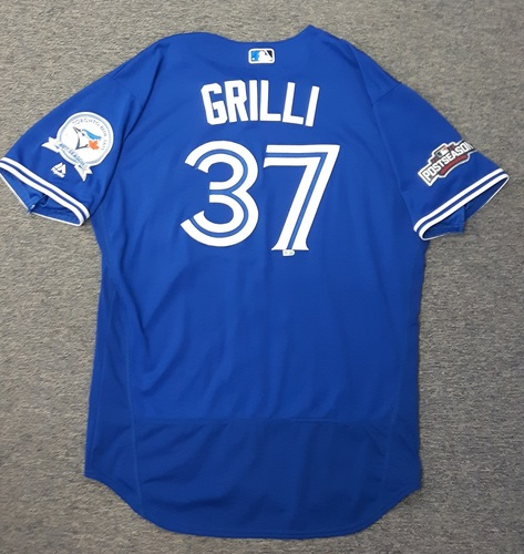 Photo of Authenticated Game Used 2016 Postseason Jersey - #37 Jason Grilli (Wild Card Game and ALDS Game 3). Grilli went 1 IP with 1 K in the Wild card Game. Grilli went 0.2 IP with 1 K in ALDS Game 3.