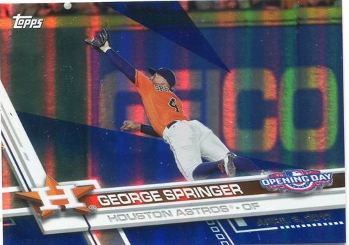 Photo of 2017 Topps Opening Day Blue Foil #31 George Springer -- Astros ALCS roster