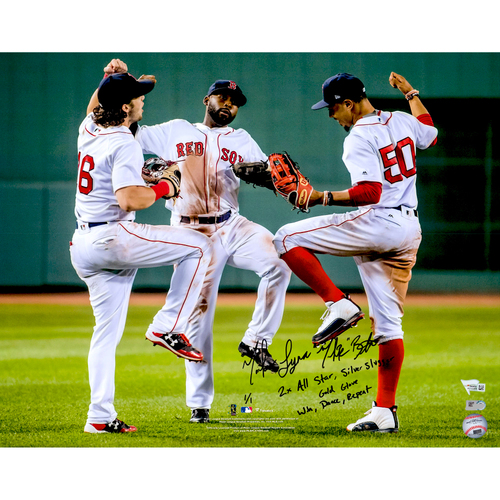 "Photo of Mookie Betts Boston Red Sox Autographed 16"" x 20"" Outfield Dance Celebration Photograph with Multiple Inscriptions - Limited Edition of 1"