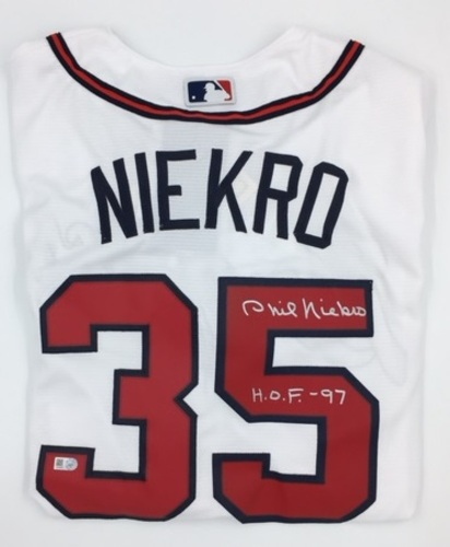 "Photo of Phil Niekro ""HOF 97"" Autographed Braves Jersey"