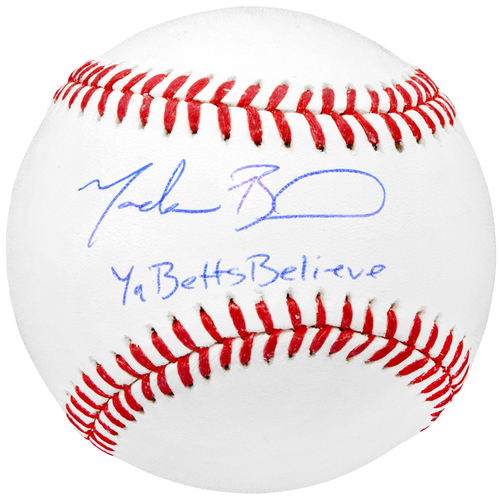 Photo of Mookie Betts Boston Red Sox Autographed Baseball with YaBettsBelieve Inscription