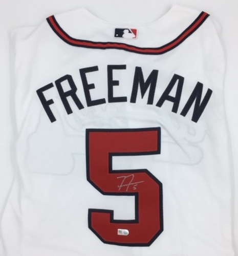 Photo of Freddie Freeman Autographed Authentic Braves Home Jersey