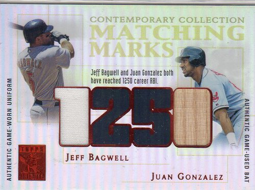 Photo of 2003 Topps Tribute Contemporary Matching Marks Dual Relics Red #BG Jeff Bagwell Uni/Juan Gonzalez Ba