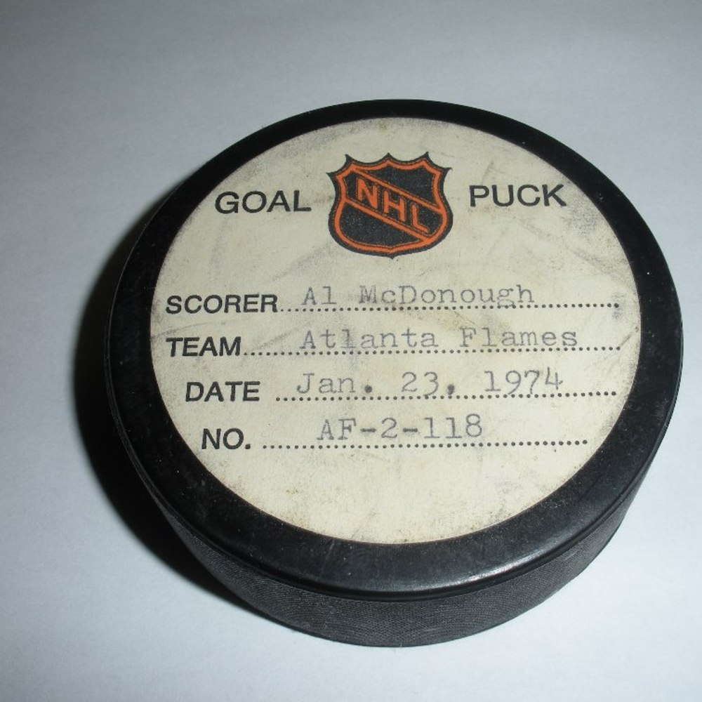 Al McDonough - Atlanta Flames - Goal Puck - January 23, 1974 (Rangers Logo)