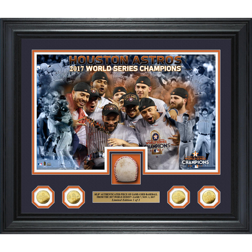 Photo of Houston Astros 2017 World Series Champions Game 7 Game-Used Baseball Gold Coin Photo Mint (With 2017 World Series Logo)