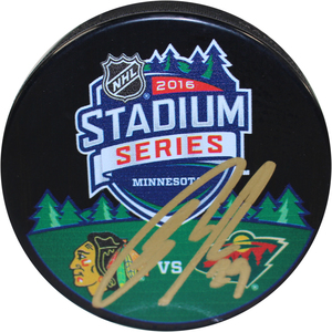 Jason Pominville Signed 2016 Stadium Series Dueling Logo Autograph Replica Puck