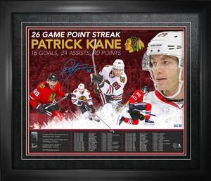 Patrick Kane - Signed & Framed 16x20 Chicago Blackhawks 26 Game Point Streak - Limited Edition /88