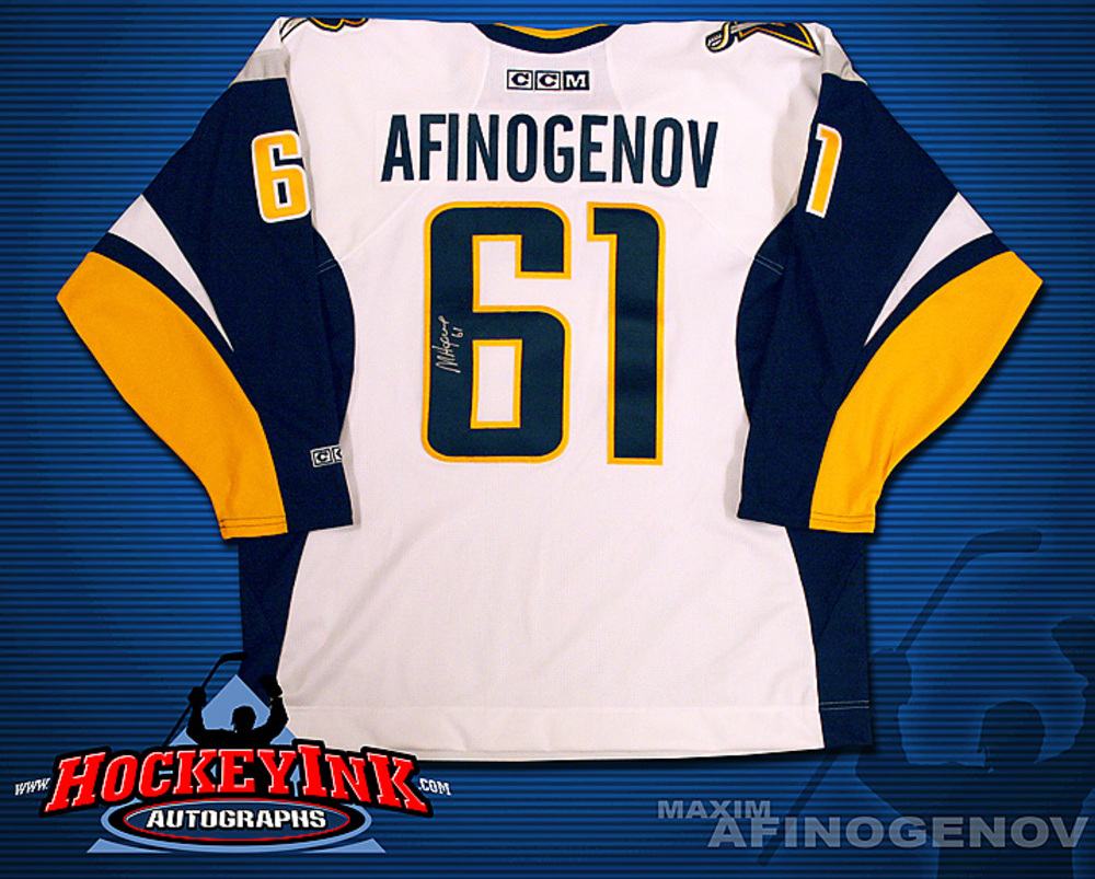 MAXIM AFINOGENOV Signed White Buffalo Sabres CCM Jersey