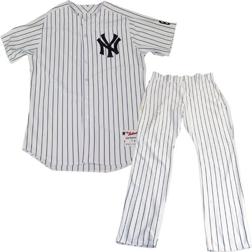Photo of Nathan Eovaldi Uniform - NY Yankees 2015 Game Issued #30 Pinstripe Jersey and Pants with Yogi Berra #8 Commemorative Patch & Postseason Patch (10/6/2015)