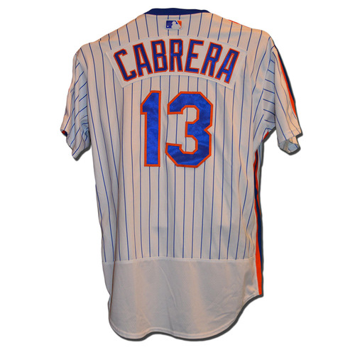 Photo of Asdrubal Cabrera #13 - Game Used 1986 Throwback Jersey - Mets vs. Dodgers - 5/28/16