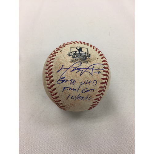 Photo of David Ortiz Autographed Game-Used October 2, 2016 Ball - Final Regular Season Game
