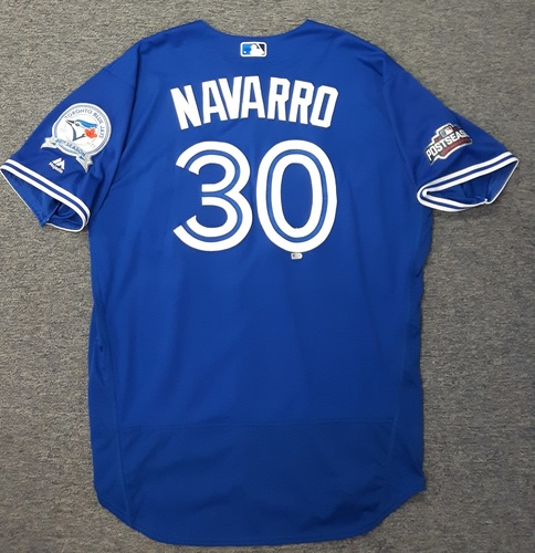 Photo of Authenticated Game Used 2016 Postseason Jersey - #30 Dioner Navarro (ALCS Games 4 and 5). Navarro went 1-for-1 in ALCS Game 5.