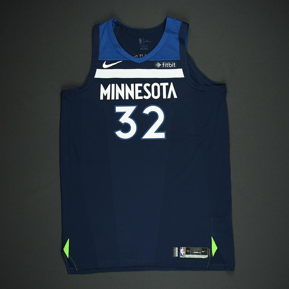 Karl-Anthony Towns - Minnesota Timerwolves - NBA Christmas Day '17 Game-Worn Jersey - Double-Double