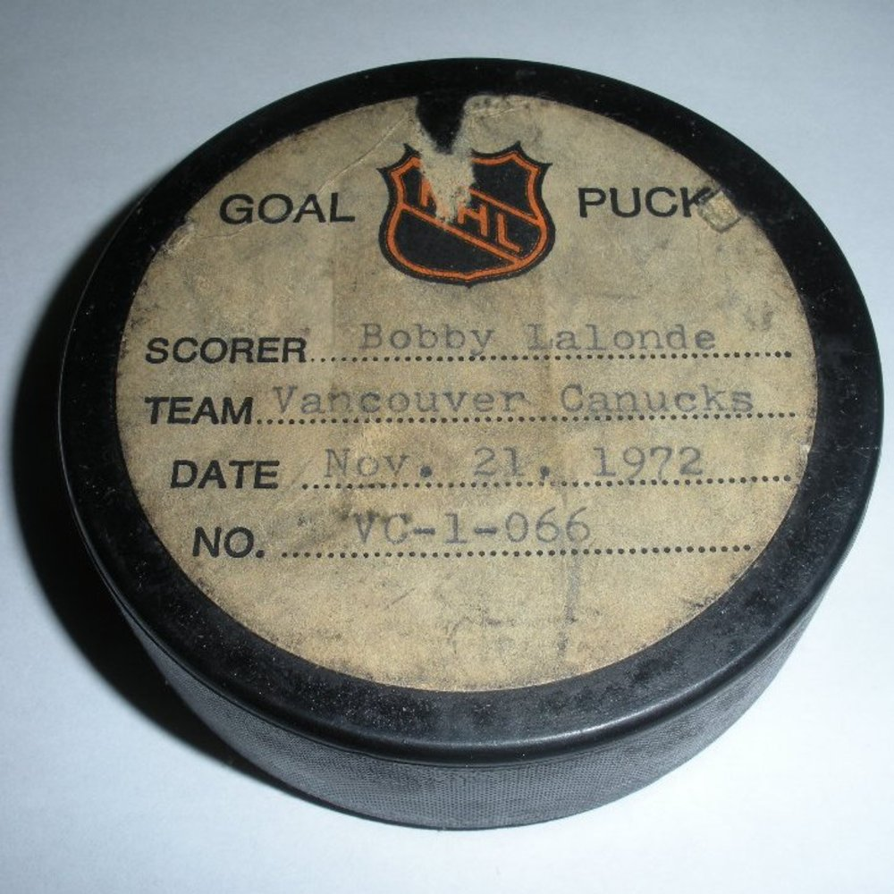 Bobby Lalonde - Vancouver Canucks - Goal Puck - November 21, 1972 (Blues Logo)