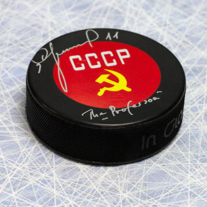 Igor Larionov CCCP-Russia Autographed Puck with *The Professor* note *Detroit Red Wings*