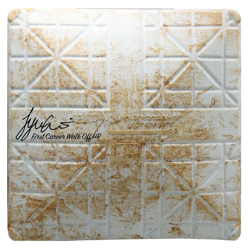 """Photo of Tyler Austin Signed Rays at Yankees 9-8-2016 Game-Used Base w/ """"First Career Walk Off HR"""" Insc"""