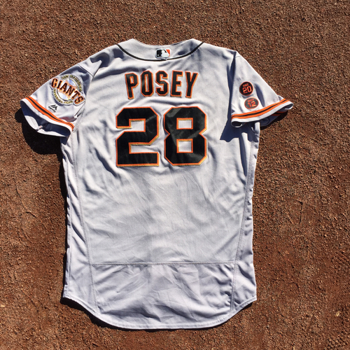 Photo of San Francisco Giants - 2016 Game-Used Road Jersey - Worn by #28 Buster Posey on 9/23 - 1-4, 2 RBI, 2B - (Size 46)