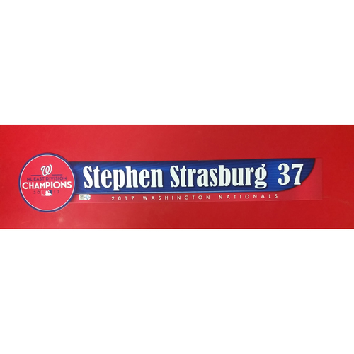 Photo of 2017 NL East Division Champions Locker Tag: Stephen Strasburg