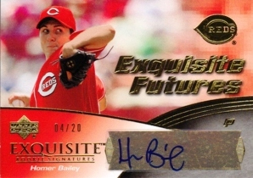 Photo of 2007 Exquisite Collection Rookie Signature Autograph Homer Bailey RC AUTO 4/20