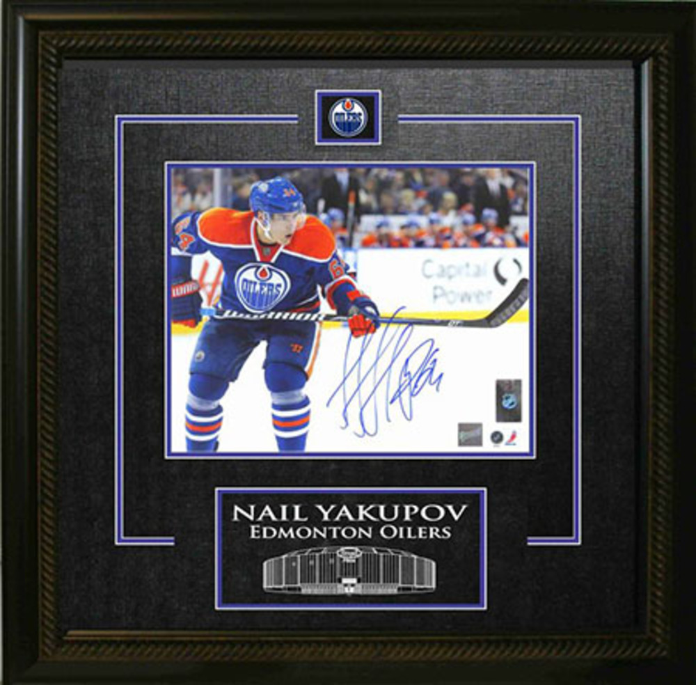 Nail Yakupov - Signed & Framed 8x10 Etched Mat - Edmonton Oilers Skating