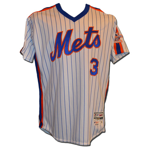 Photo of Curtis Granderson #3 - Game Used 1986 Throwback White Pinstripe Jersey - Mets vs. Phillies - 4/10/15