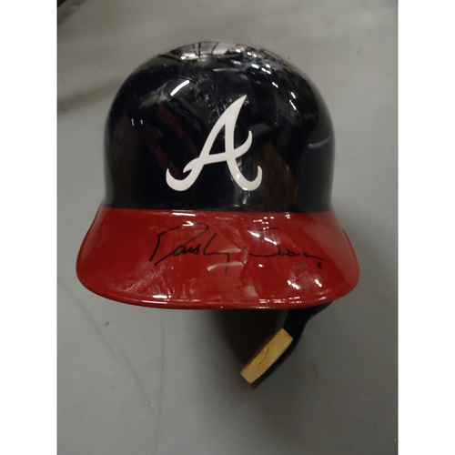 Photo of Dansby Swanson Autographed Game-Used Helmet with Face Guard