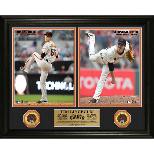 Photo of San Francisco Giants - Tim Lincecum 2 Career No Hitters Game-Used Dirt 16 x 20 Frame