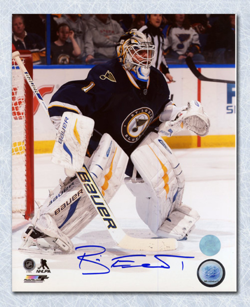 Brian Elliott St. Louis Blues Autographed Goalie Action 8x10 Photo