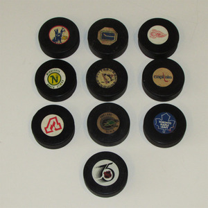 Lot of 10 Classic NHL Official Game Pucks - Converse, Viceroy & InGlasCo