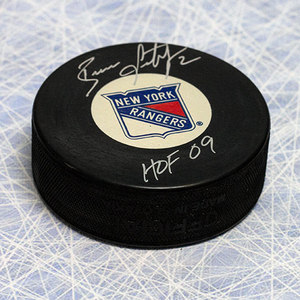 Brian Leetch New York Rangers Autographed Hockey Puck w/ HOF Note
