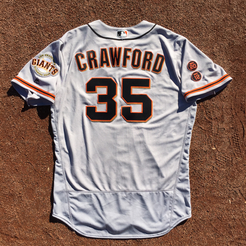 Photo of San Francisco Giants - 2016 Game-Used Road Alt Jersey - Worn by #35 Brandon Crawford on 9/25 (Size 48)