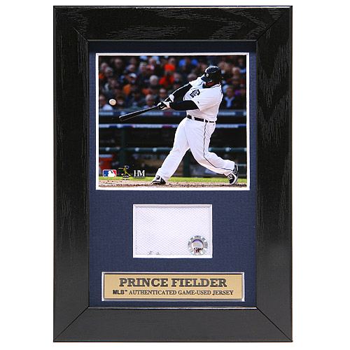 Photo of Detroit Tigers Prince Fielder Mini Plaque with Game-Used Jersey Swatch