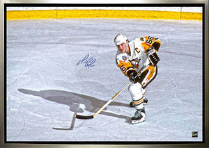 Mario Lemieux - Signed & Framed 24x35 Canvas - Pittsburgh Penguins Captain Overhead