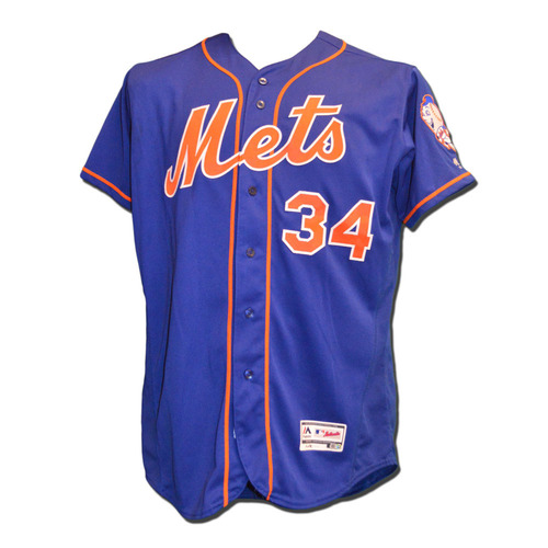 Photo of Noah Syndergaard #34 - Game Used Blue Alternate Home Jersey - Syndergaard Goes 6.0 IP with 8 K's - Mets vs. Cardinals - 7/26/16