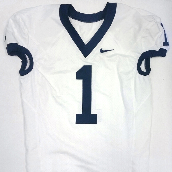 Penn State Game Used Football Jersey: White #1 (Size 48)