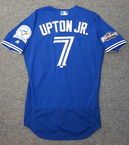 Photo of Authenticated Game Used 2016 Postseason Jersey - #7 Melvin Upton Jr. (ALCS Games 4 and 5). Upton was a defensive replacement in ALCS Game 4 and went 0-for-1 in ALCS Game 5.