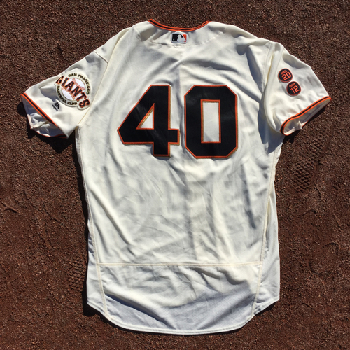 Photo of San Francisco Giants - 2016 Game-Used Home Jersey - Worn by #40 Madison Bumgarner on 10/1 (Size 50)