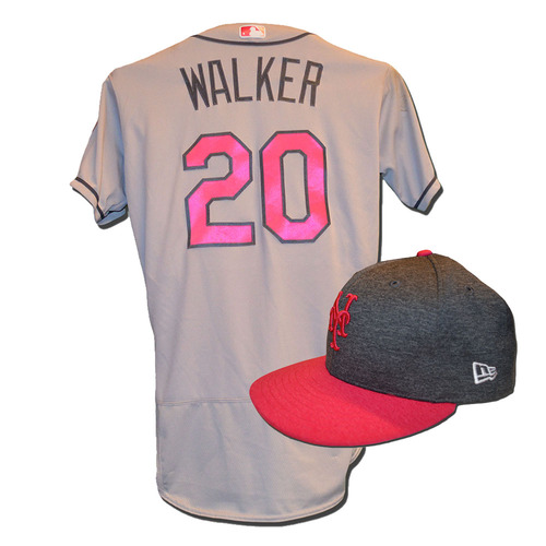 Photo of Neil Walker #20 - Game Used Mother's Day Jersey and Hat - Walker Goes 3-5, 3 RBI, Run Scored - Mets vs. Brewers - 5/14/17
