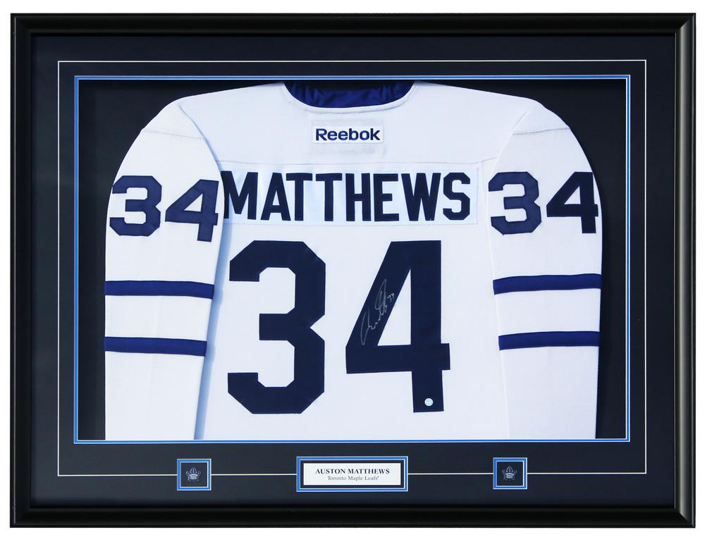 Auston Matthews -  Framed Signed Toronto Maple Leafs Reebok Jersey