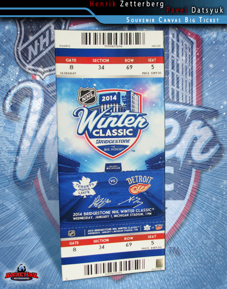 PAVEL DATSYUK and HENRIK ZETTERBERG Signed 2014 NHL WINTER CLASSIC Commemorative Canvas Mega Ticket 32in x 12in-Detroit Red Wings