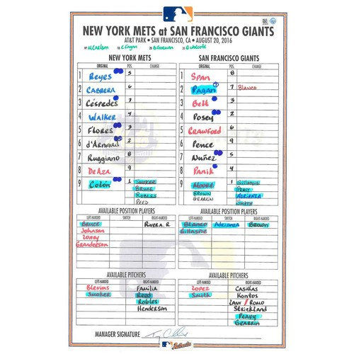 Photo of Game Used Lineup Card - Colon Start, Cespedes Hits 2 HR's, Mets Win 9-5 - Mets vs. Giants - 8/20/16