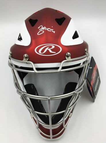 Photo of Yadier Molina Autographed Red Rawlings Catchers Mask